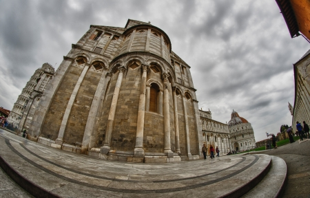 Cathedral, Baptistery and Tower of Pisa in Miracle square, Italy photo