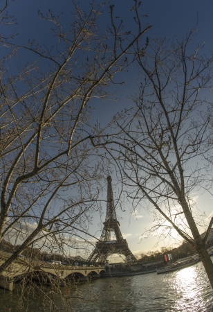Winter view of Eiffel Tower in Paris, France