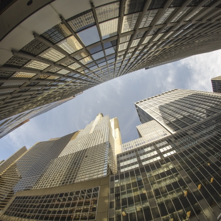 Fisheye upward view of New York City Skyscrapers, U.S.A. photo