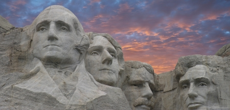 Panoramic view of Mount Rushmore at Sunset in South Dakota, U.S.A. Editorial