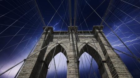 Storm approaching New York and Brooklyn Bridge, U.S.A. photo
