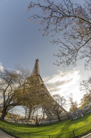 Upward view of Eiffel Tower in Paris, France photo