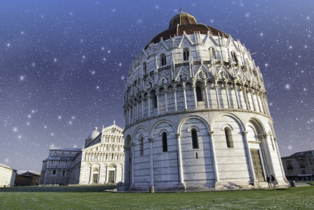 Sky over Piazza dei Miracoli in Pisa, Italy photo