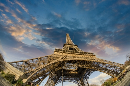 blue sky and fields: Colors of Eiffel Tower in Paris, Winter Season
