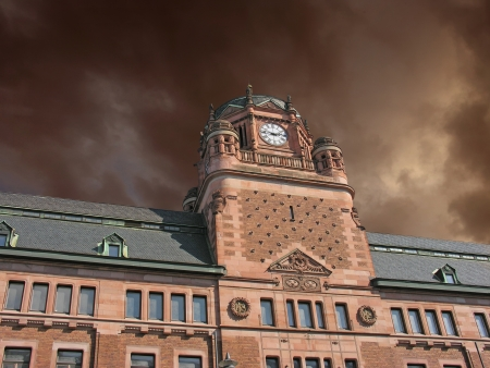 Storm approaching Post Office Building in Stockholm, Sweden Stock Photo - 13701444