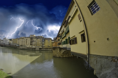 Storm over Ponte Vecchio in Florence, Italy Stock Photo - 13702897