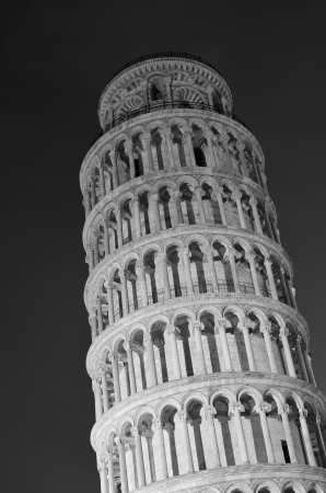 Architectural Detail of Pisa Leaning Tower by Night Stock Photo - 13702596