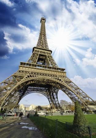 building monumental: Sky Colors over Eiffel Tower in Paris, France