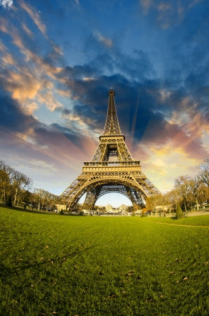 Front view of Eiffel Tower from Champ de Mars, Paris photo