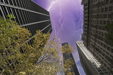 Storm over New York City Skyscrapers, U.S.A. Stock Photo - 13732419