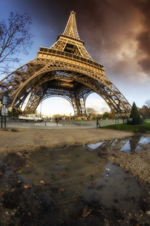 Dramatic Sky Colors above Eiffel Tower in Paris, France photo