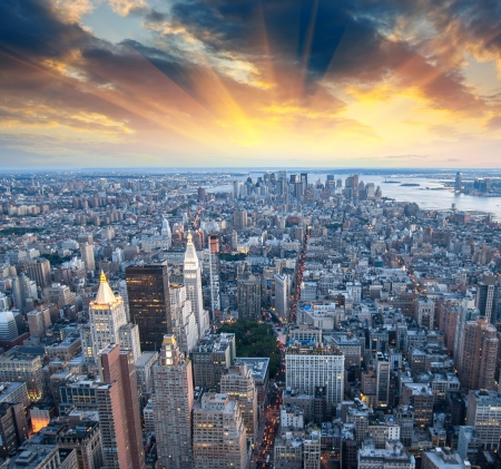 Mrakodrapy New Yorku - Manhattan, letecký pohled