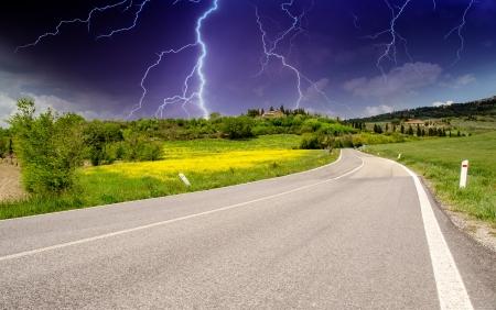 Chianti vineyard road landscape in Tuscany, Italy  photo