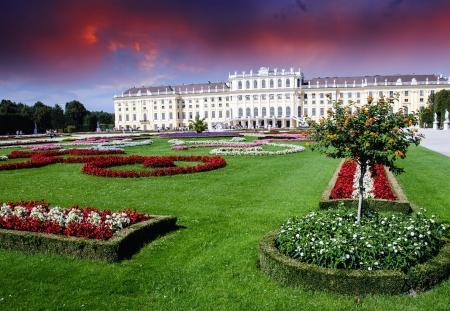 Gardens and Flowers In Schoenbrunn Castle of Vienna, Austria Editorial