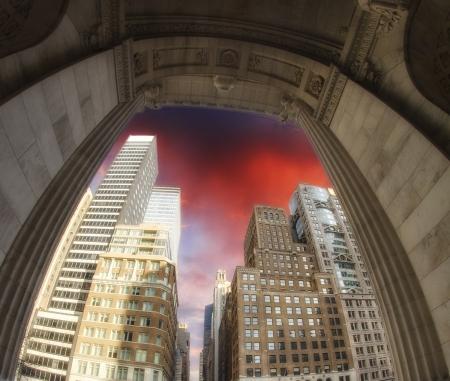 Skyscrapers and Dramatic Sky, New York City Manhattan Stock Photo