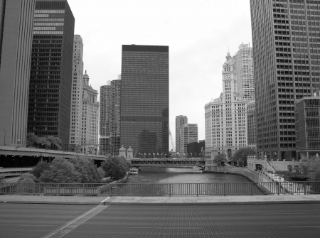 Dramatic Black and White view of Chicago Buildings, U.S.A. photo