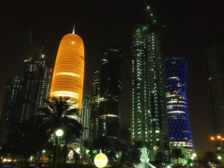 Skyscrapers Colors at Night in Doha, Qatar photo