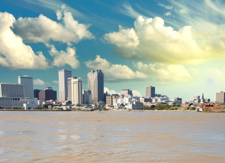 New Orleans Skyline from Mississippi, U.S.A. Stock Photo - 13953855