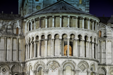Architectural Detail of Duomo in Pisa by Night, Italy photo