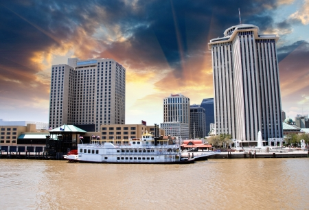 mississippi: Sunset above New Orleans with Mississippi River, Louisiana Stock Photo
