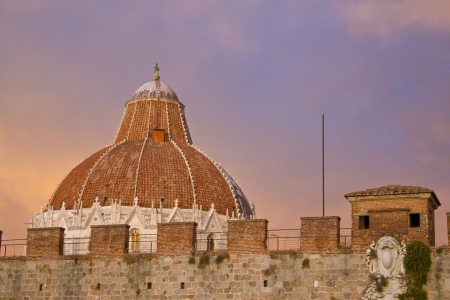 View of Baptistery from outside Pisan Walls, Piazza dei Miracoli, Italy photo