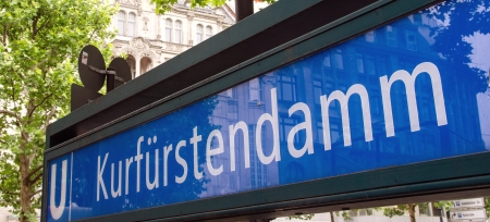Kurfurstendamm u-bahn sign in Berlin, Germany