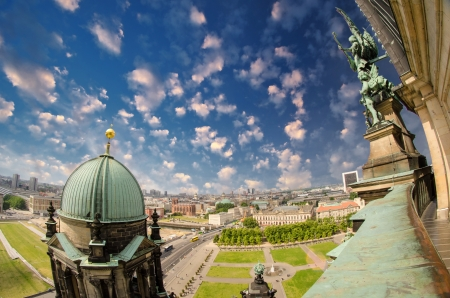 Aerial view of Berlin from the Cathedral, Germany photo