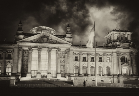 Black and White view of Bundestag Building in Berlin, Germany photo