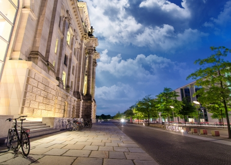 Berlin Government District at Night, side view, Germany photo