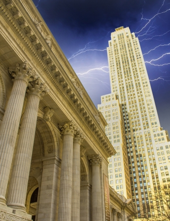 New York Public Library and surrounding Skyscrapers, Manhattan Stock Photo - 14334478