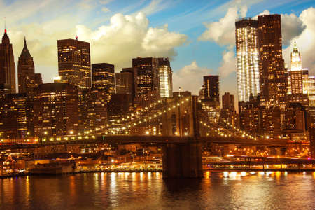 Brooklyn Bridge and Lower Manhattan Skyline at Sunset, view from Manhattan Bridge photo