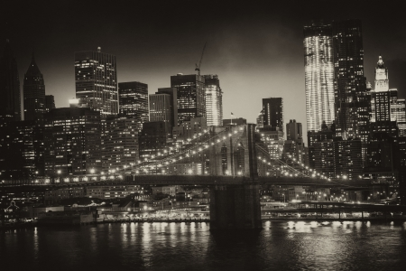 Manhattan, New York City - Black and White view of Tall Skyscrapers, U.S.A. photo