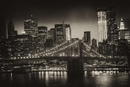 new york night: Manhattan, New York City - Black and White view of Tall Skyscrapers, U.S.A. Stock Photo
