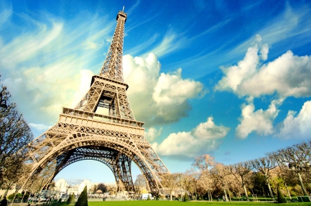 Eiffel Tower glory on a cold and sunny Winter day in Paris, France Stock Photo