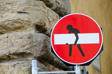 No Transit sign with a man designed, Italy photo