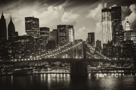 skyscrapers: Manhattan, New York City - Black and White view of Tall Skyscrapers, U S A
