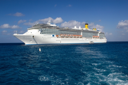 anchored: Cruise Ship Anchored in a Caribbean Port