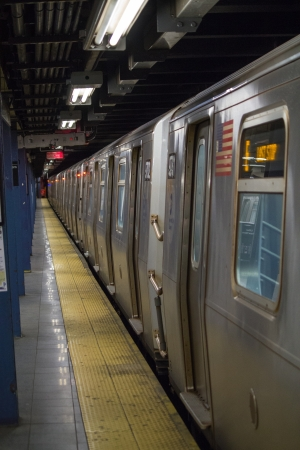 Train in subway station, photo taken in South Ferry Station on Manhattan, New York - USA