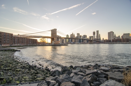 Wide Angle view of Brooklyn Bridge and Manhattan Skyscrapers - New York City Stock Photo - 14440038