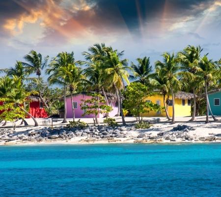 Caribbean beautiful Beach house with coconuts trees, Santo Domingo