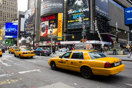 Yellow cabs on March 8, 2011 in New York. Currently there are more than 13,000 yellow cabs operating in New York City Stock Photo - 14443295
