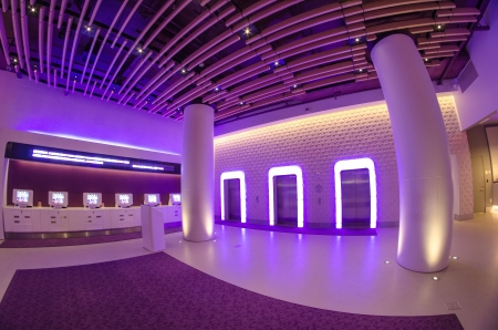 NEW YORK CITY - MARCH 8: Purple lights illuminates the interior of a Modern Hotel, March 8th, 2011 in New York City Stock Photo - 14466805