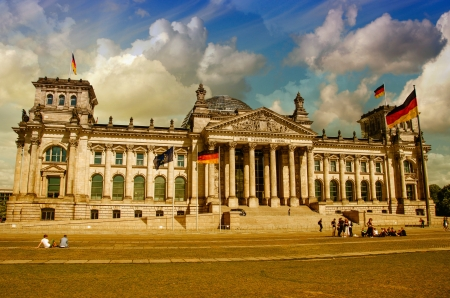 Colorful sky above Berlin and Reichstag, Germany