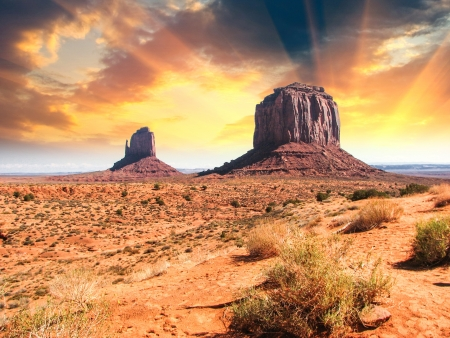desert sunset: The famous Buttes of Monument Valley at Sunset, Utah, USA