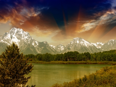 Landscape of Grand Teton National Park Stock Photo