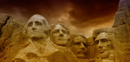 mount jefferson: Dramatic Sky above Mount Rushmore National Memorial  Editorial