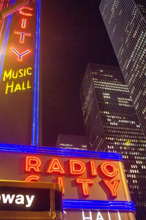 NEW YORK - MAR 11: Radio City Music Hall at Rockefeller Center March 11, 2010 in New York, NY. Completed in 1932, the famous music hall was declared a city landmark in 1978