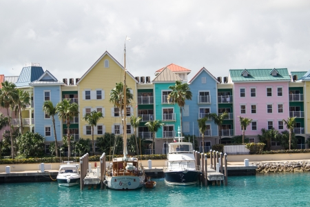NASSAU, BAHAMAS - FEB 28: Typical buildings of Atlantis complex show their colors at midday in front of the Sea, February 28th, 2011 in Nassau, Bahamas
