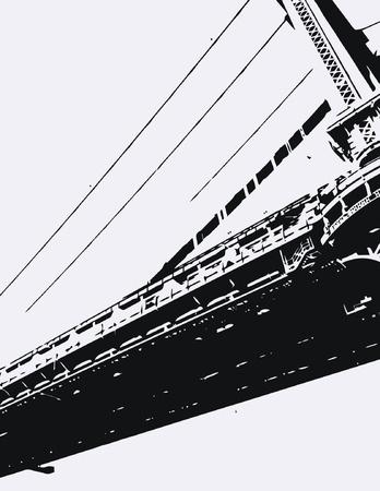 manhattan bridge: Manhattan Bridge Silhouette Illustration
