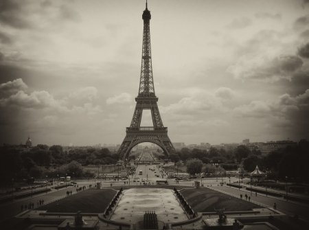 metal structure: Metal Structure of Eiffel Tower against a Cloudy Sky, Paris